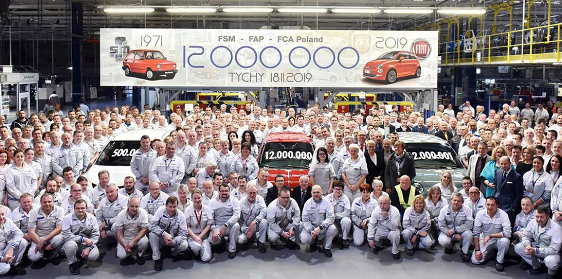 12-millionth car produced in the Fiat Chrysler Automobiles factory in Tychy.