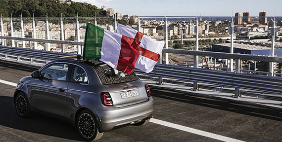THE NEW FIAT 500 CROSSES THE NEW GENOA SAN GIORGIO BRIDGE: THE NEW 500 AND THE CITY OF GENOA SYMBOLICALLY UNITED IN THE RESTART, AIMED AT A FUTURE OF TECHNOLOGY AND SUSTAINABILITY